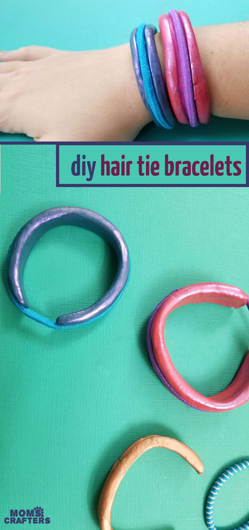 Click to learn how to make these hair tie bracelets DIY - this fun and easy clay jewelry making craft for teens and tweens (and grown-ups) is perfect for beginners! You'll love this easy craft tutorial for hair tie bracelets to serve as a bangle holder for your ponytail holders. #polymerclay #jewelrymaking #teencrafts
