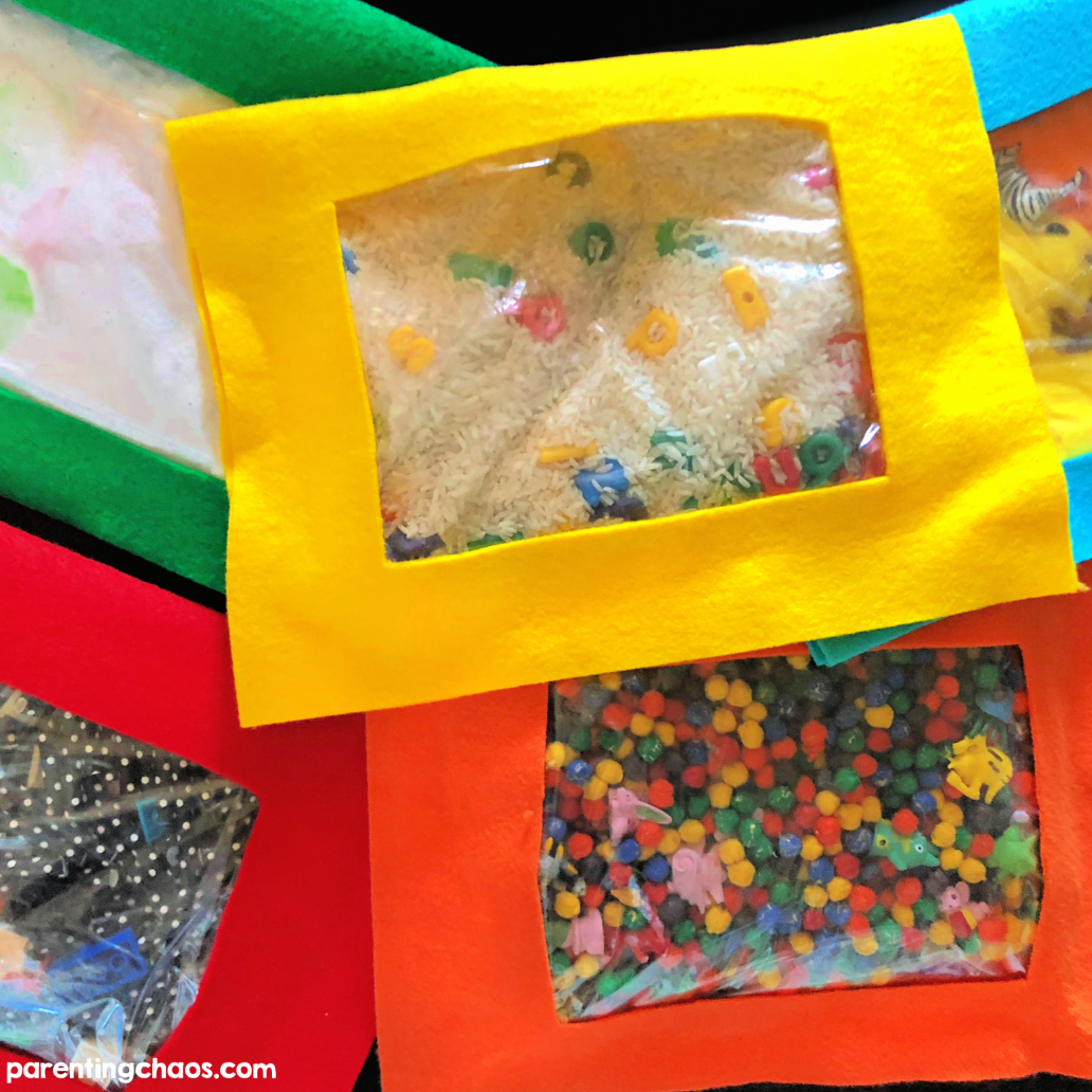 These sensory bags are a perfect travel companion. No more sandwich bags full of beads getting ripped open in the car! The best part? No sewing required!