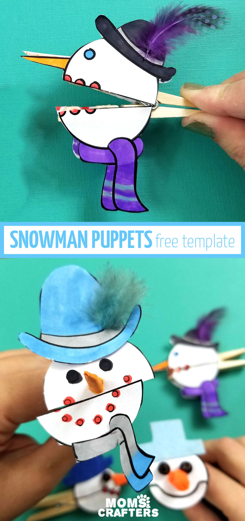 Click for the free template to make these cool snowman puppets with clothespins! These fun winter crafts for kids help practice fine motor skills, communication, and more, as well as teaching kids about winter.