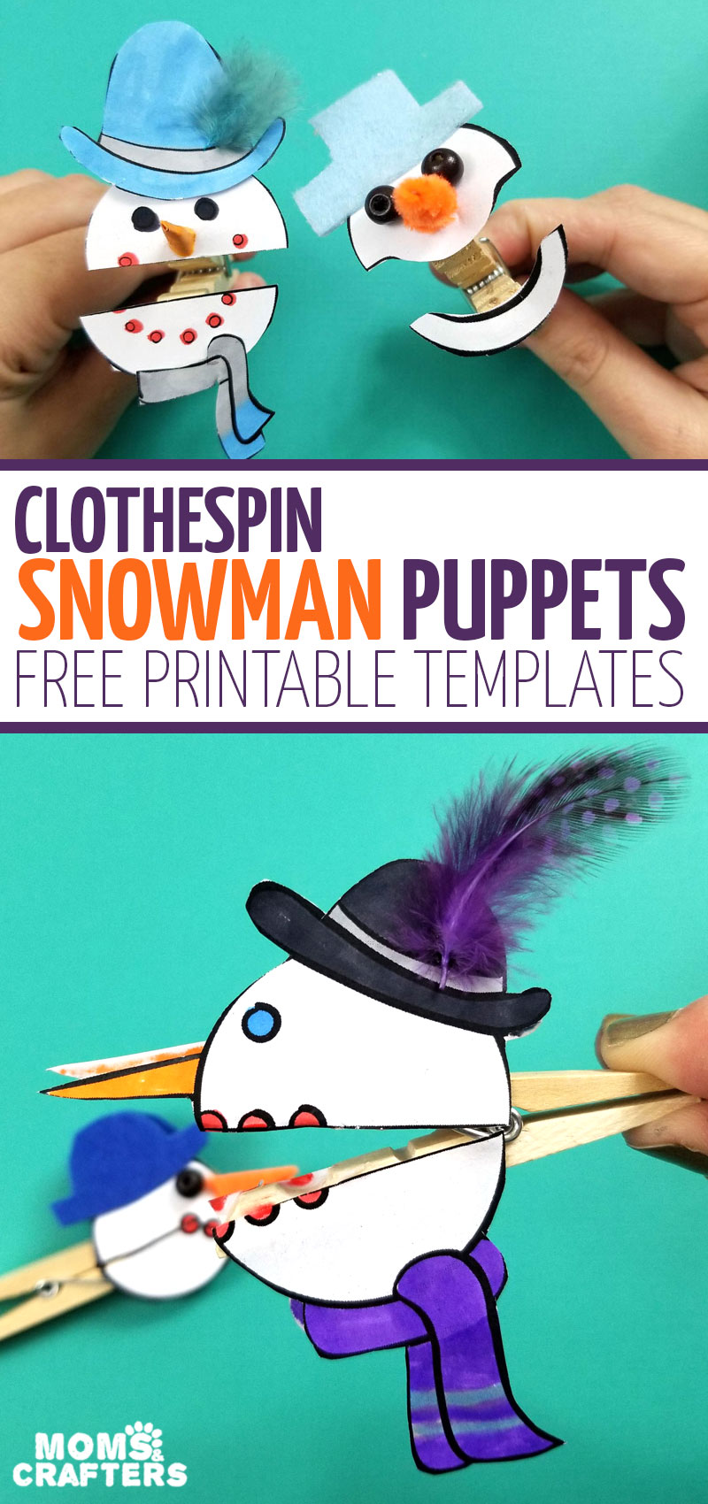 These easy clothespin puppets make a great winter craft for kids! Click for the free snowman puppets template and make this sweet fine motor snowman craft for preschoolers and kids. #finemotor #snowman #wintercrafts