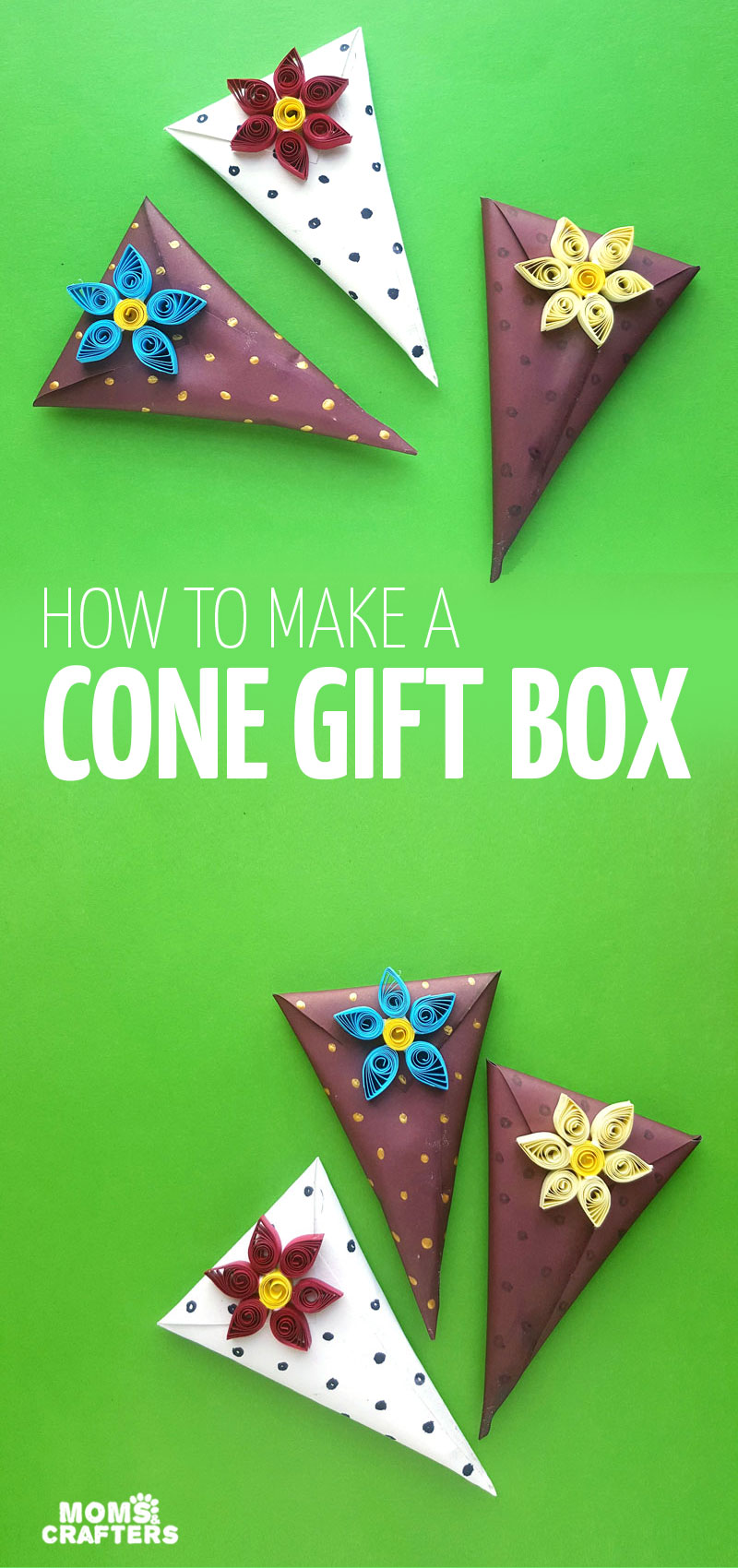 Click for an easy tutorial to make a DIY cone gift box - a fun DIY gift wrapping tutorial perfect for Valentine's Day chocolate, or for Christmas or any holiday.