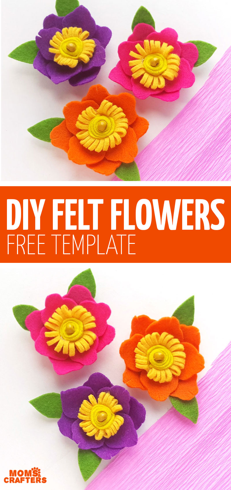 Click here to make some really cool DIY felt flowers with free printable templates! This fun spring craft for teens is really simple and easy to make!