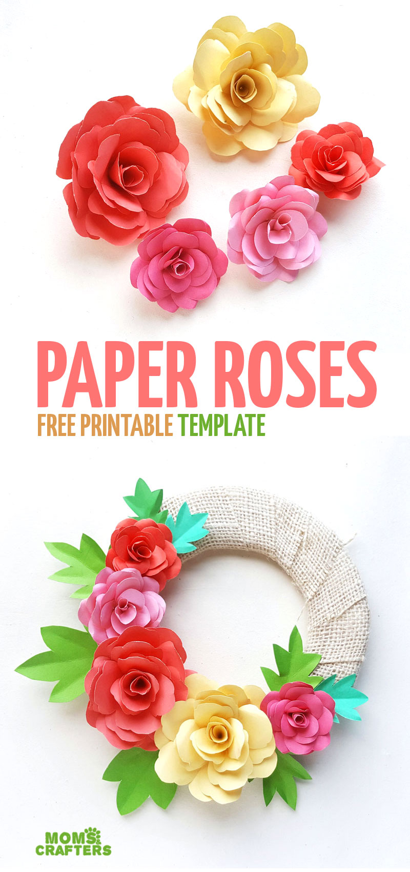 Click to learn how to make your own DIY paper roses and turn them into a beautiful Spring Wreath for Easter - or not! this fun DIY paper flower template is perfect for beginners and teens