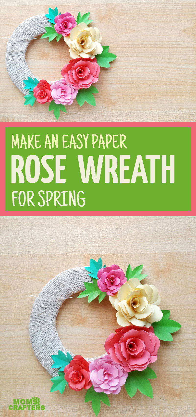 Make your own paper flower wreaths using a free printable template! These DIY paper roses are so pretty and colorful and fun for Spring!