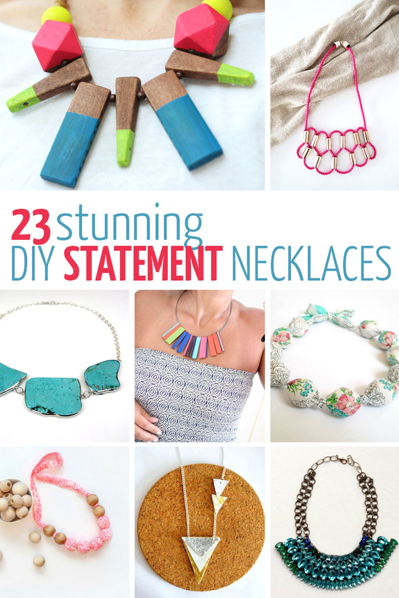 Make these 23 pretty DIY statement necklace ideas - fashion forward easy ideas from fabric, upcycled jewelry, crystal and rhinestones, clay, chain, boho style, and many other cheap and unique materials.