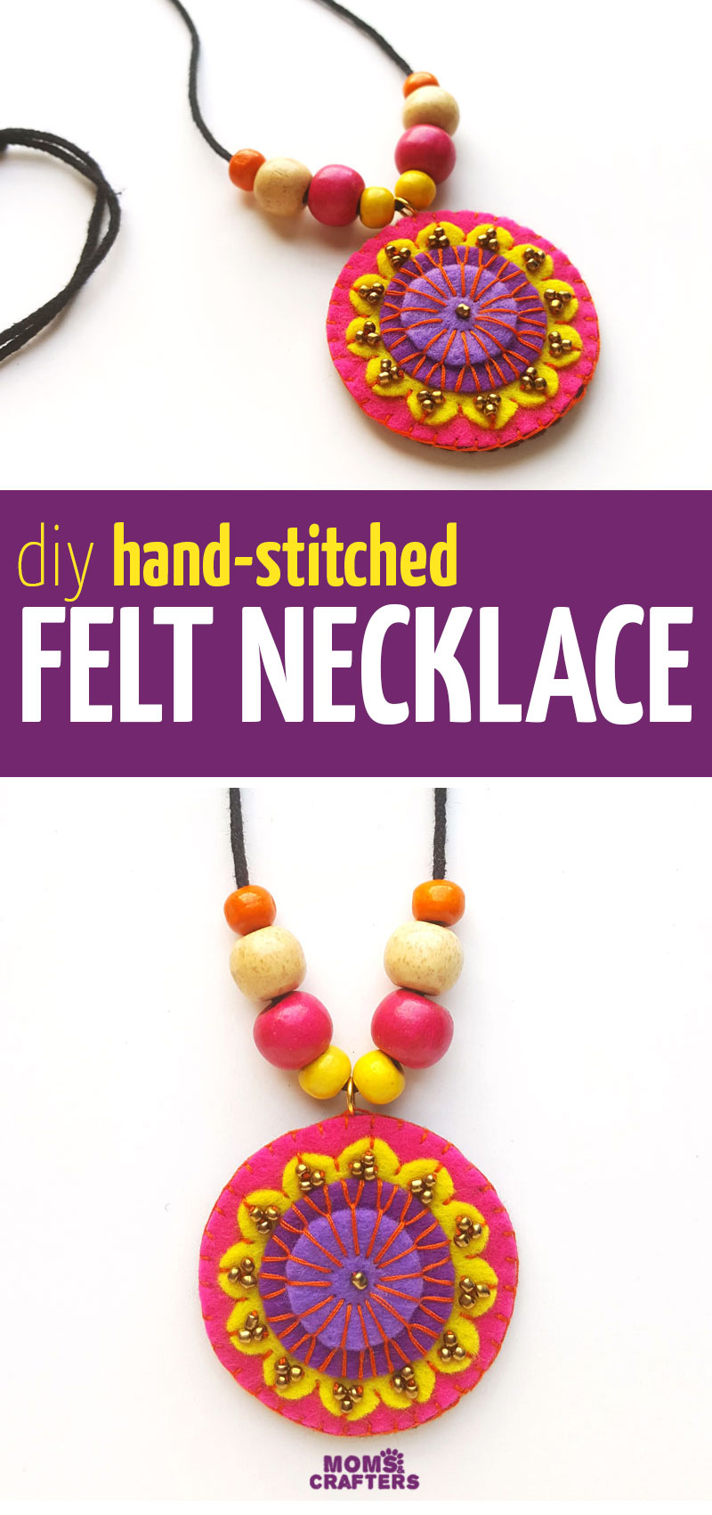 Click for the tutorial and template to make this fun colorful DIY felt necklace - you can hand stitch this beautiful sewing and jewelry making project for beginners! This is a fun jewellery craft tutorial for teens and tweens too!
