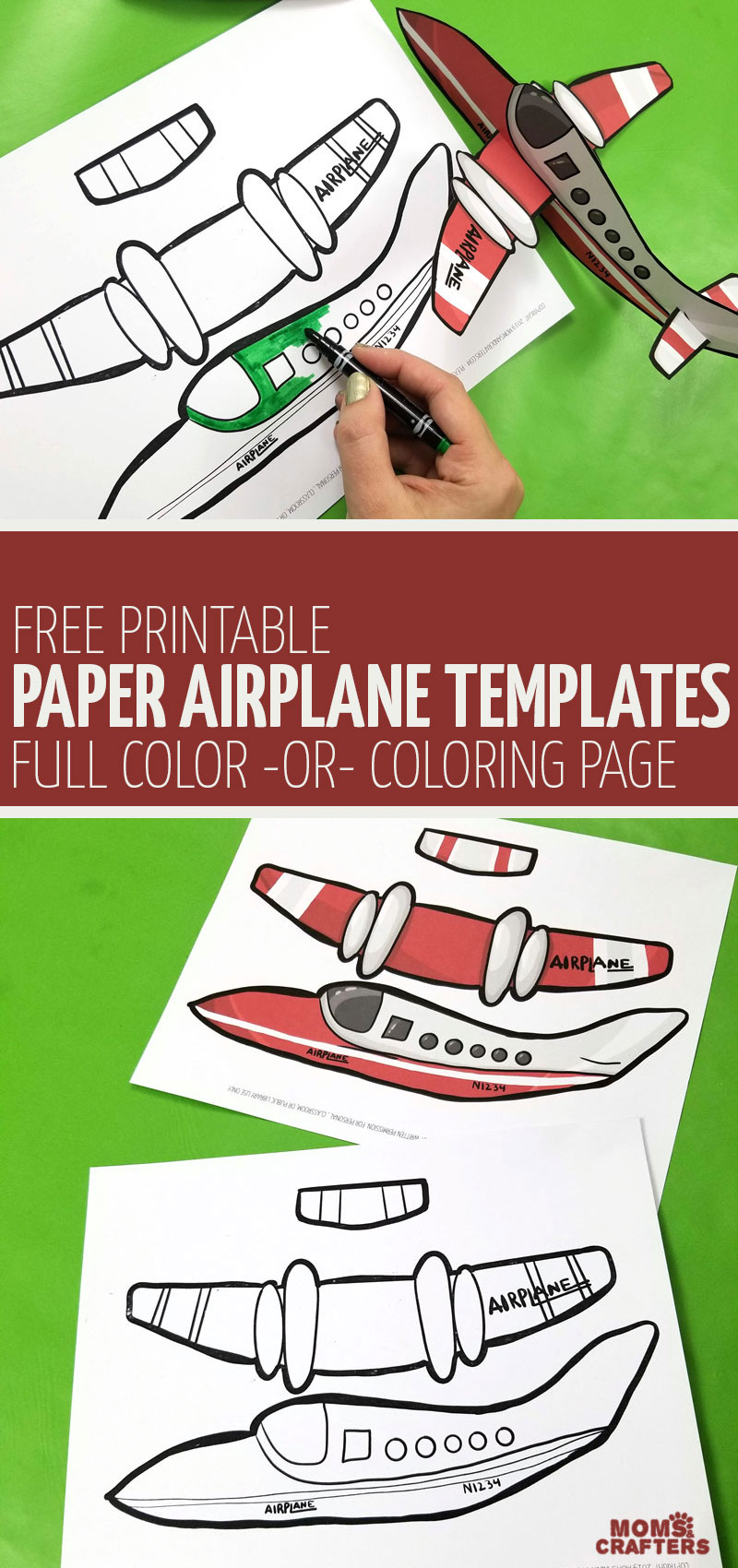 CLick for this free printable easy paper airplane templates in the full color and coloring page version! This fun kids craft and paper toy is a super fun paper craft to make for travel.