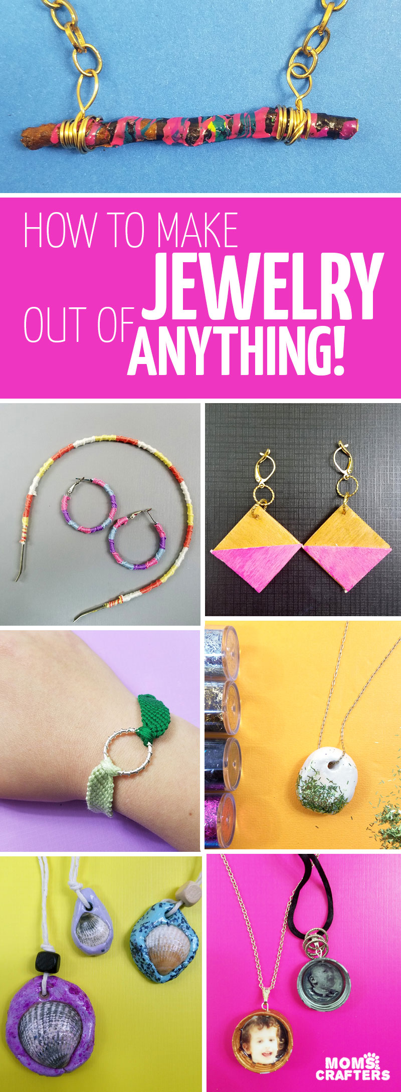 Want to learn how to make jewelry out of anything? Click to learn more about this cool jewelry making book for beginners, teens, tweens, and anyone who wants to learn! You'll also learn the basics of jewelry making, with fun recycled projects, nature proejcts, and more.