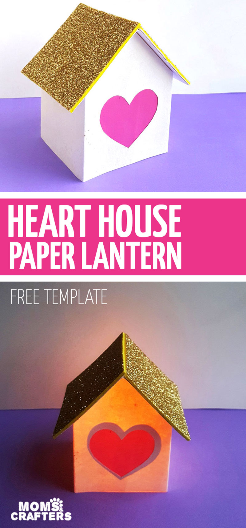 These fun valentine paper lanterns come with a free template for you to enjoy! A fun valentine's day hearts paper craft, this sweet house lantern is fun for kids, teens, and grown-ups