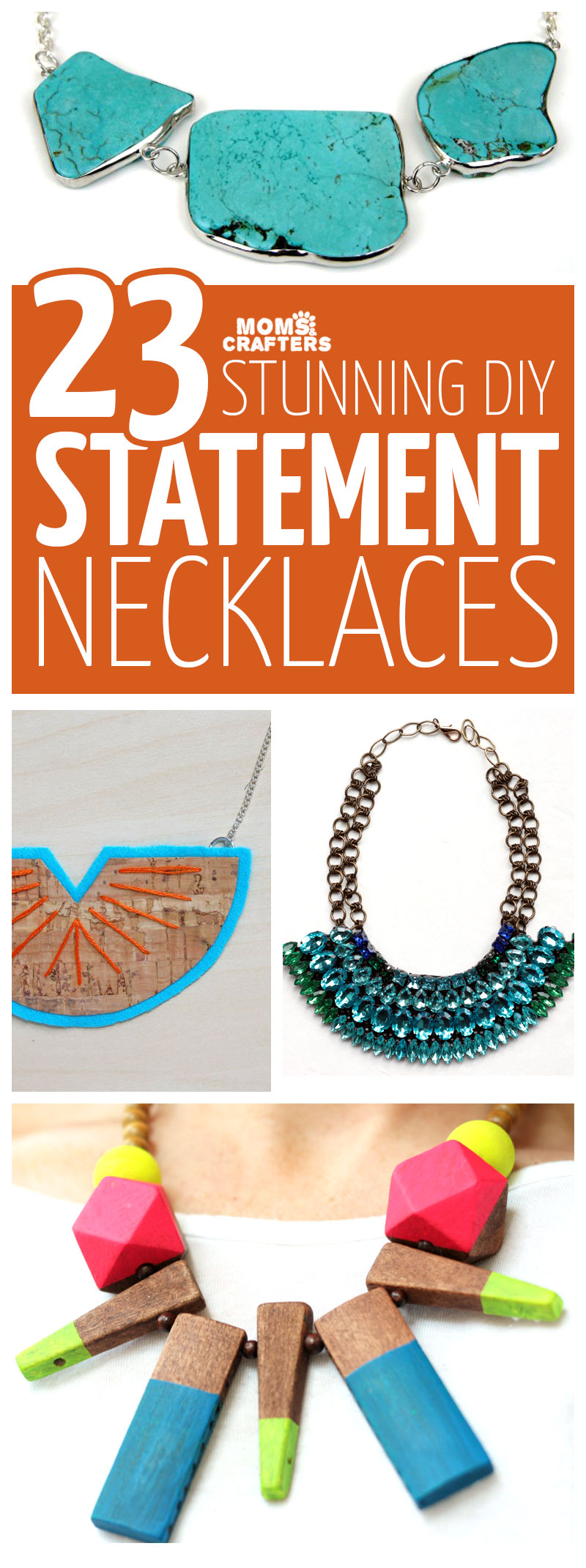 Click for 23 DIY statement necklace ideas for beginners through experts! These beautiful DIY necklaces jewelry making tutorials are perfect for teens and grown-ups too.
