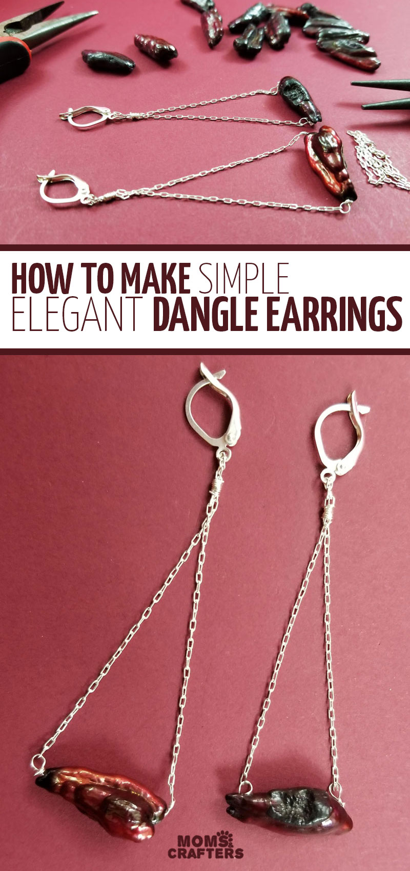 Click for an awesome DIY beaded earrings tutorial for any purpose! These trapeze dangle earrings use beads and wire, and are easy to make. Learn how to make DIY earrings that are simple and minimalist for teens