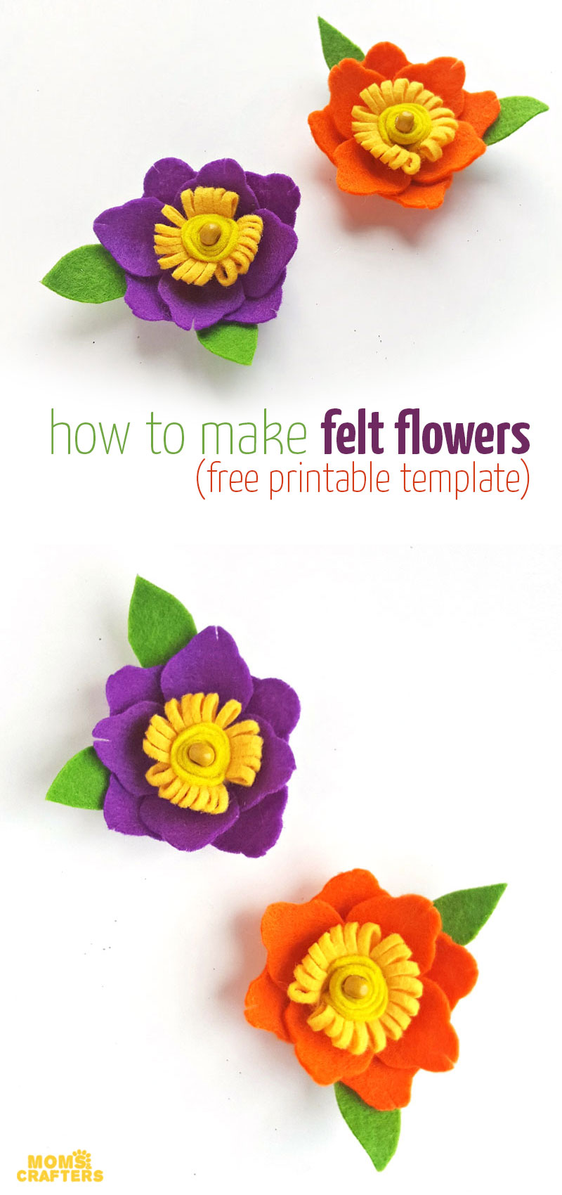 Free printable template to make DIY felt flowers - perfect for girls accessories such as DIY hair clips and barettes! This fun spring craft for teens and tweens is really simple to craft.