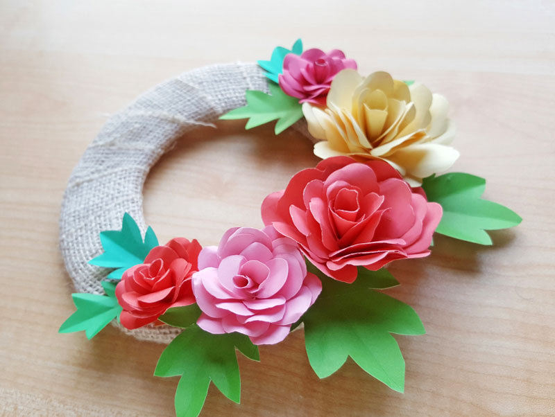 Diy Paper Roses And A Cool Paper Flower Spring Wreath