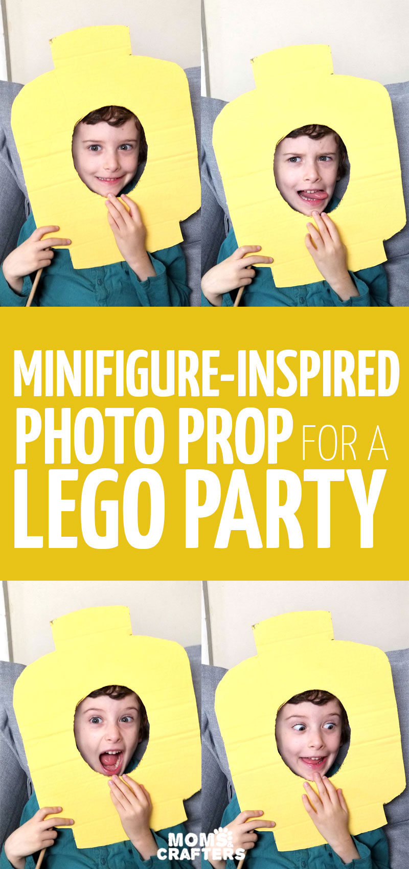 Make LEGO photo props for your next LEGO themed birthday party! This fun minifigure-inspired photo booth idea is made from upcycled cardboard boxes and is super easy to craft.