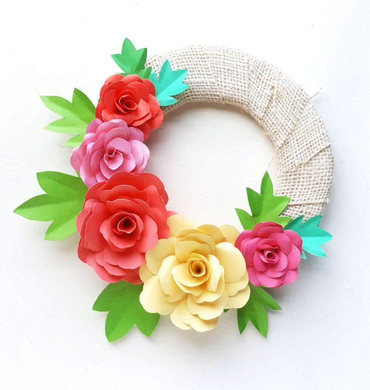 DIY Paper Roses Spring Wreath