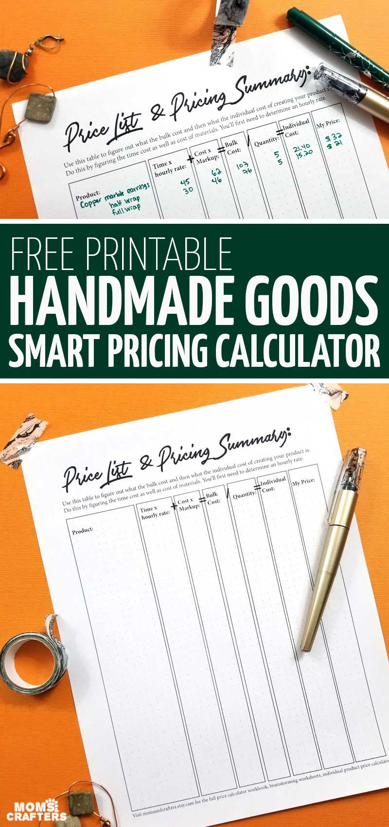 Click for a cool crafting calculator and Etsy shop pricing planner! This handmade goods calculator and selling on Etsy tips is really cool and the best part: it's a free printable!