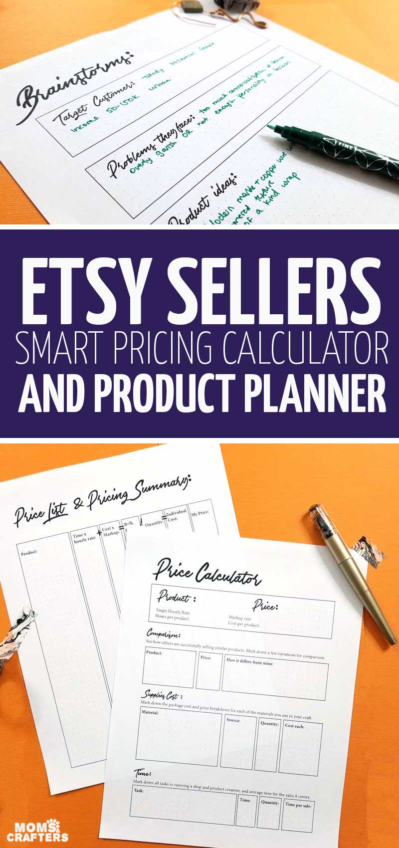 Download this smart pricing calculator for Etsy sellers that takes into account EVERYTHING! This is such a cool handmade goods calculator and crafting calculator for selling handmade jewelry, leather crafts, printables -anything really!