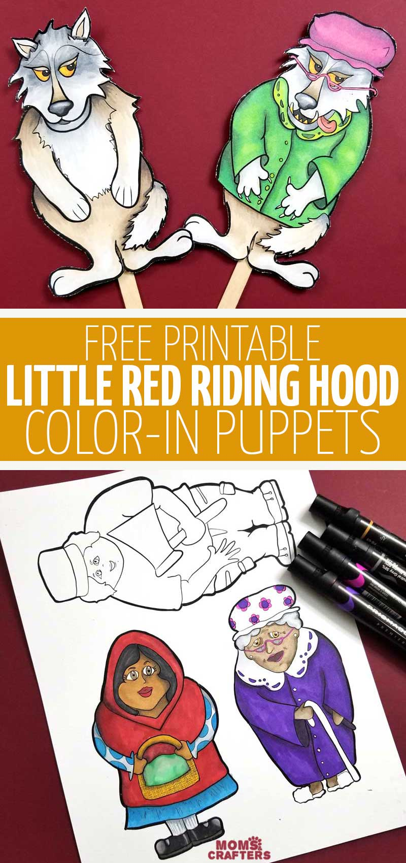 Click to download free printable little red riding hood puppets coloring pages - a fun literacy and dramatic playl activity for kids! This fun book inspired craft is perfect for teaching kids about stranger danger.