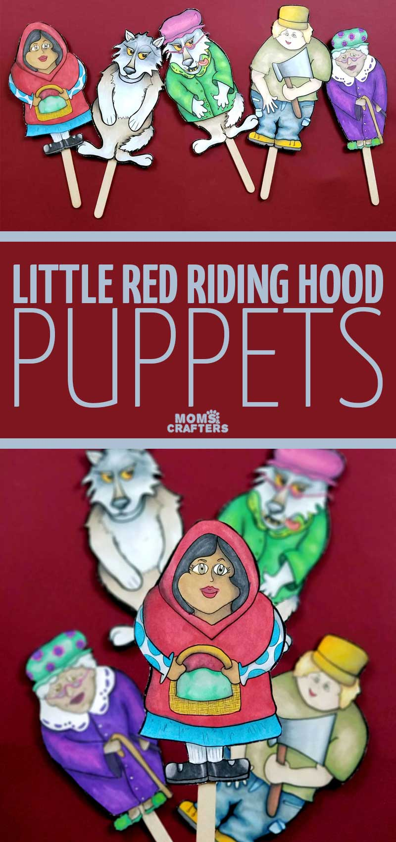 Click to download beautiful Little Red Riding Hood puppets - these paper puppets are perfect for storytelling with kids! It's a fun literacy activity and beautiful multicultural puppets for teaching kids naturally about diversity.