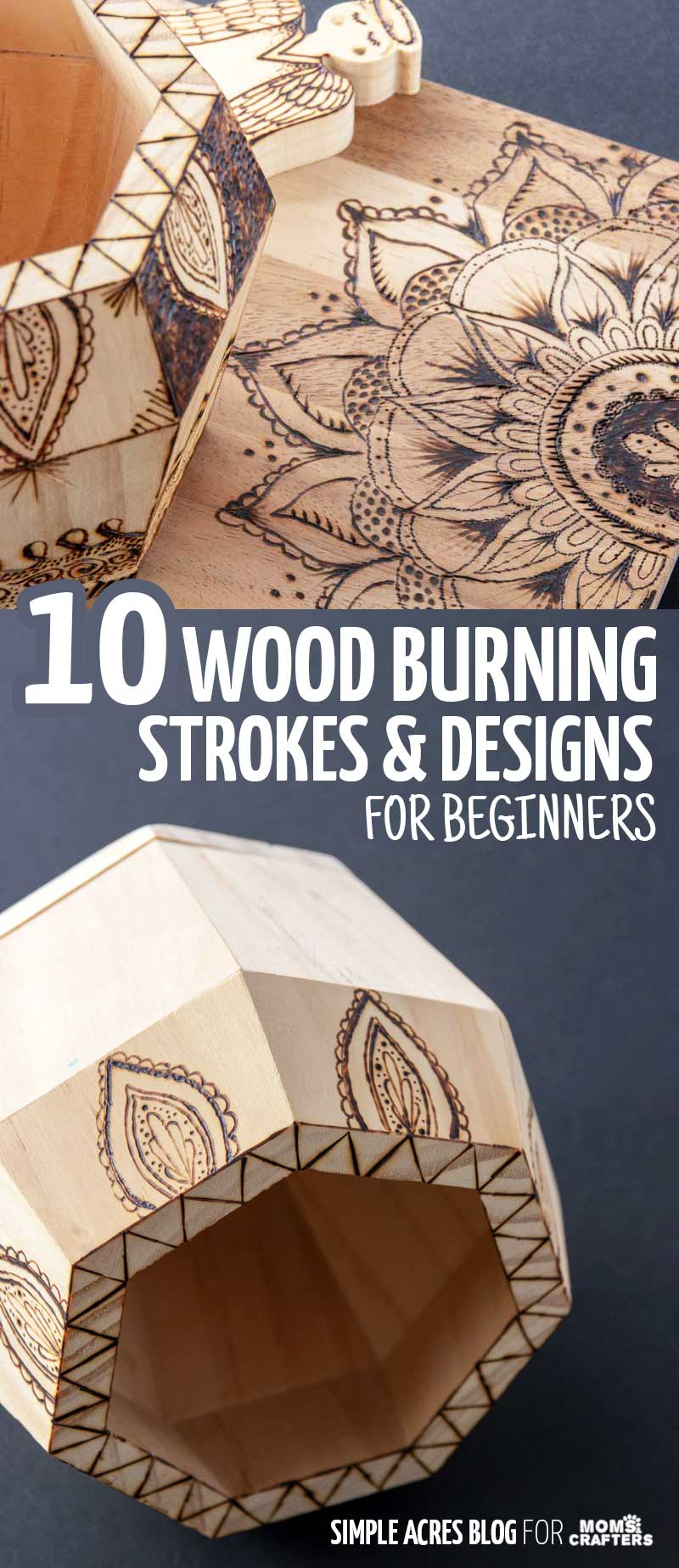 Click for 10 beautiful woodburning designs and fill ideas for beginners! This post on how to do woodburning for beginners shows you different ways to draw patterns and strokes so that you can fill your pyrogrpahy wood craft designs