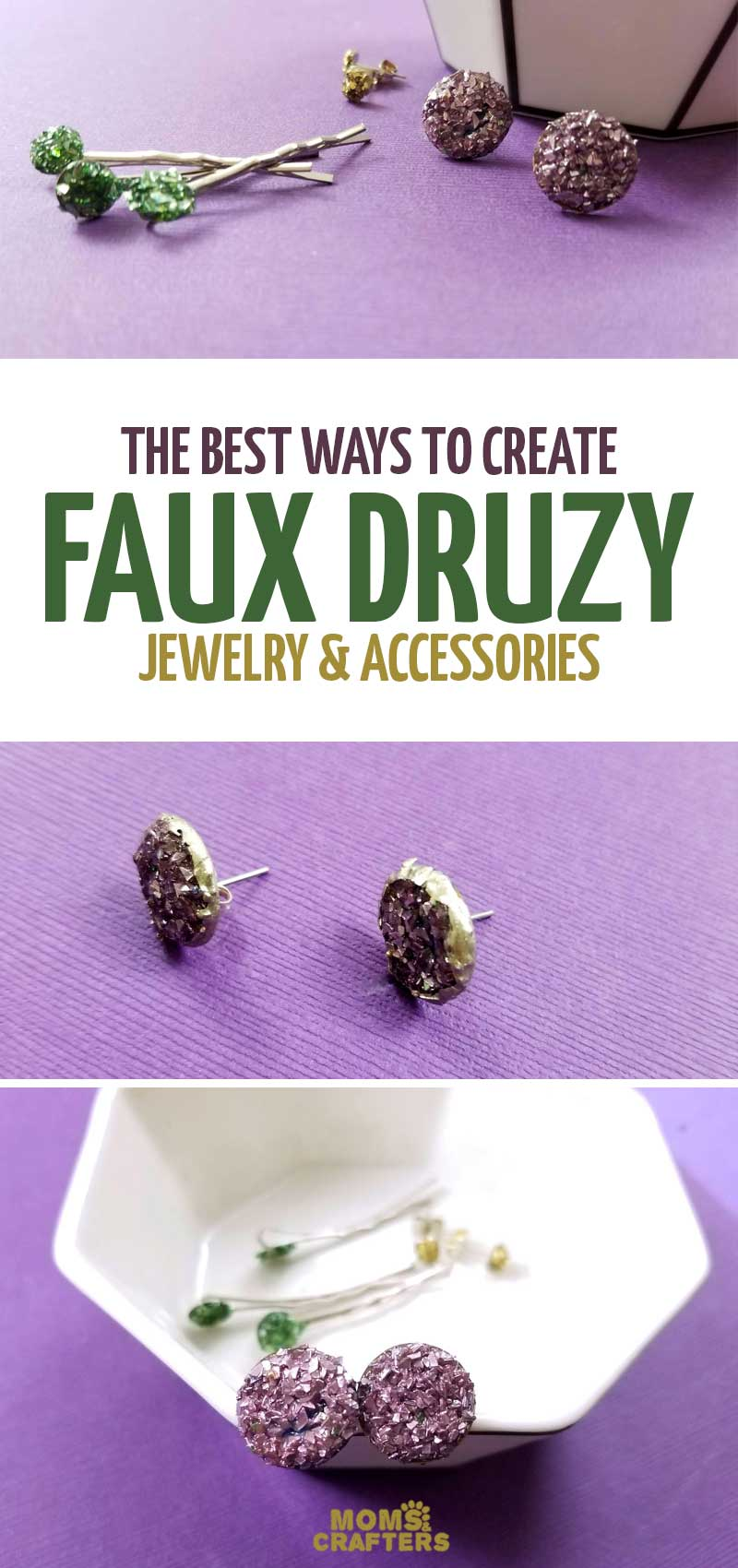 Make these beautiful faux druzy earrings DIY - a faux agate druze jewelry making tutorial for beginners! This easy jewellery project uses crushed glass glitter and features experimentaiton to narrow down the best way to craft this cool jewelry making project for teens and tweens - and adults!