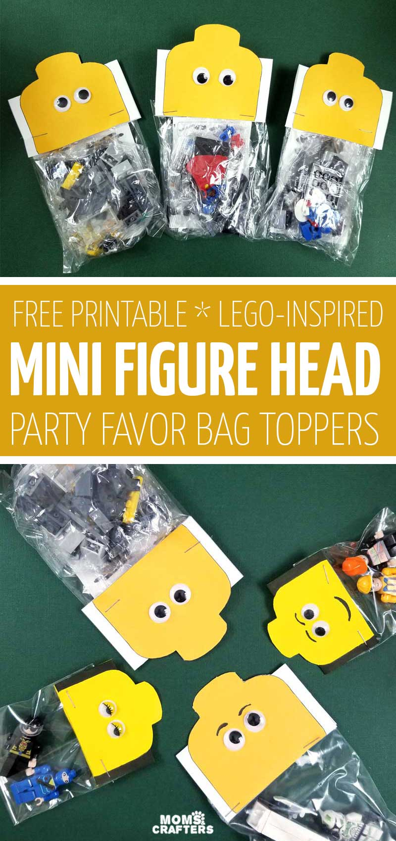 Click for some free printable LEGO inspired favor bags toppers - these cool free printables are in the shape of a minifigure head and are such cool birthday party ideas for a building brick themed party treat bags!