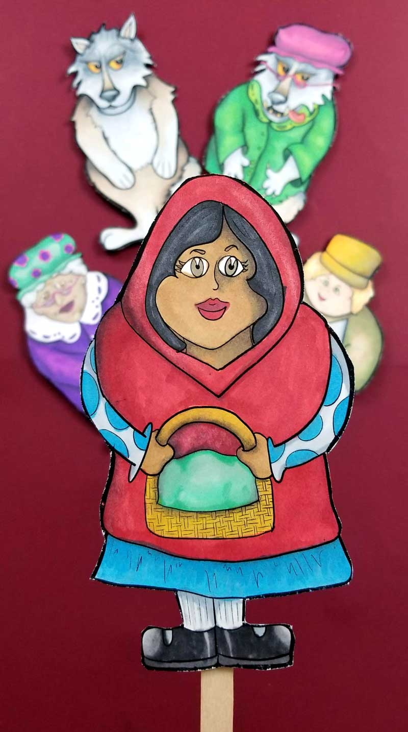 LIttle Red Riding Hood Puppets - printable coloring pages and paper toys for kids