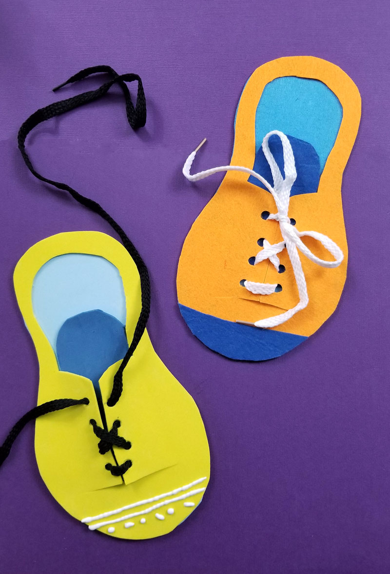 Click for a free template to make a cool shoe tying practice toy for kids!