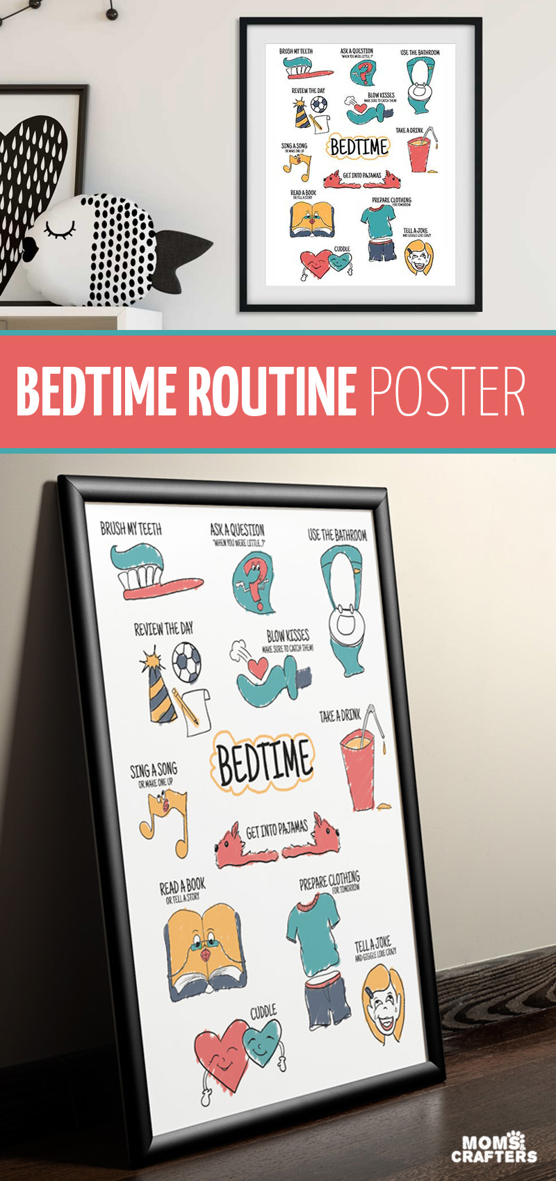 Click for a super cool kids room wall art poster - fun things to do in your bedtime routine! This wall art is printable or get it already printed.