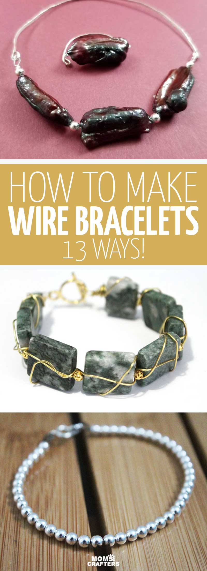 Click to learn how to make wire bracelets with 13 wire wrapped and memory wire jewelry making projects