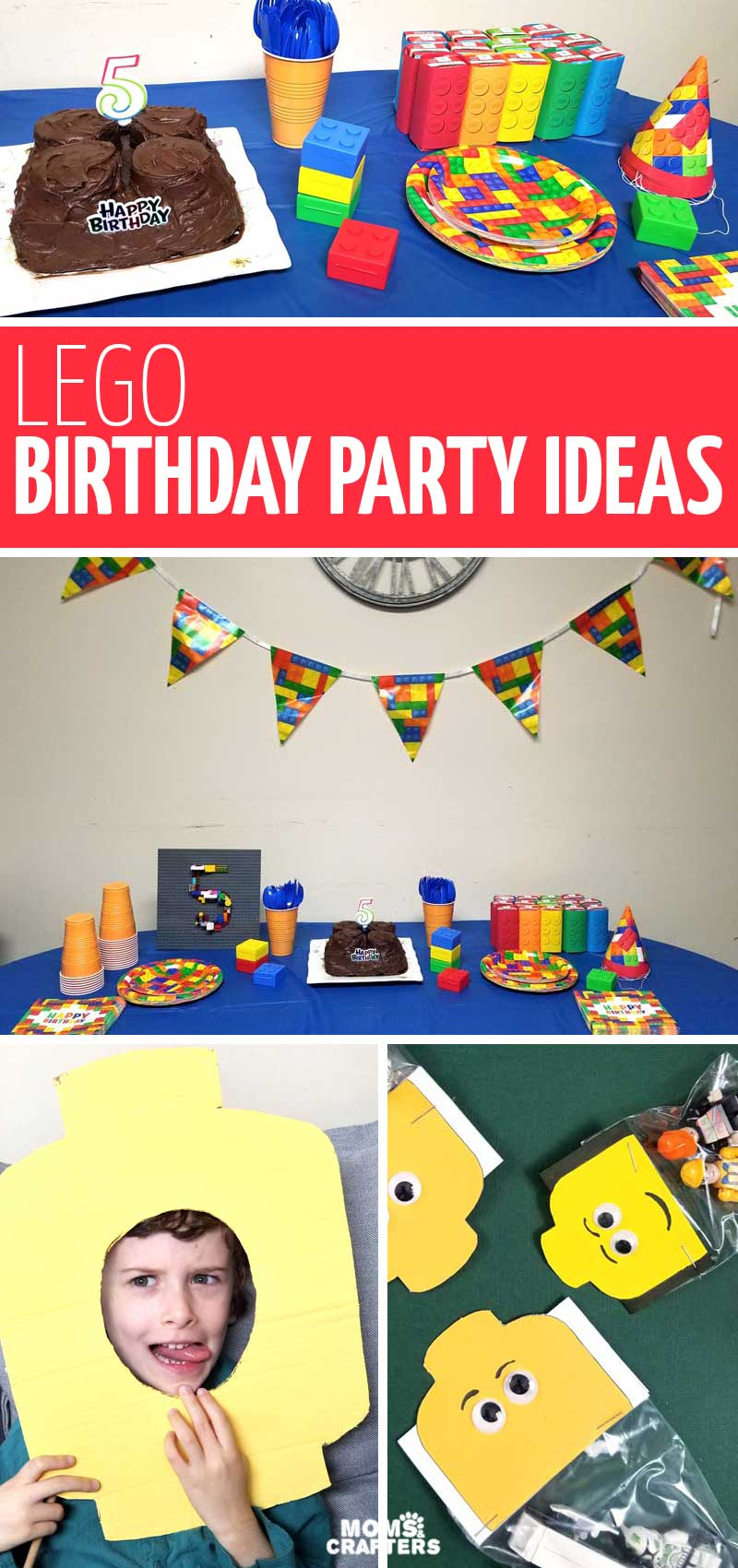 This list of LEGO birthday party ideas includes so many crafts and activities for a brick party! These ideas for a five year old birthday party theme include photo props, craft ideas, party activities, food ideas to serve, decorations, and more