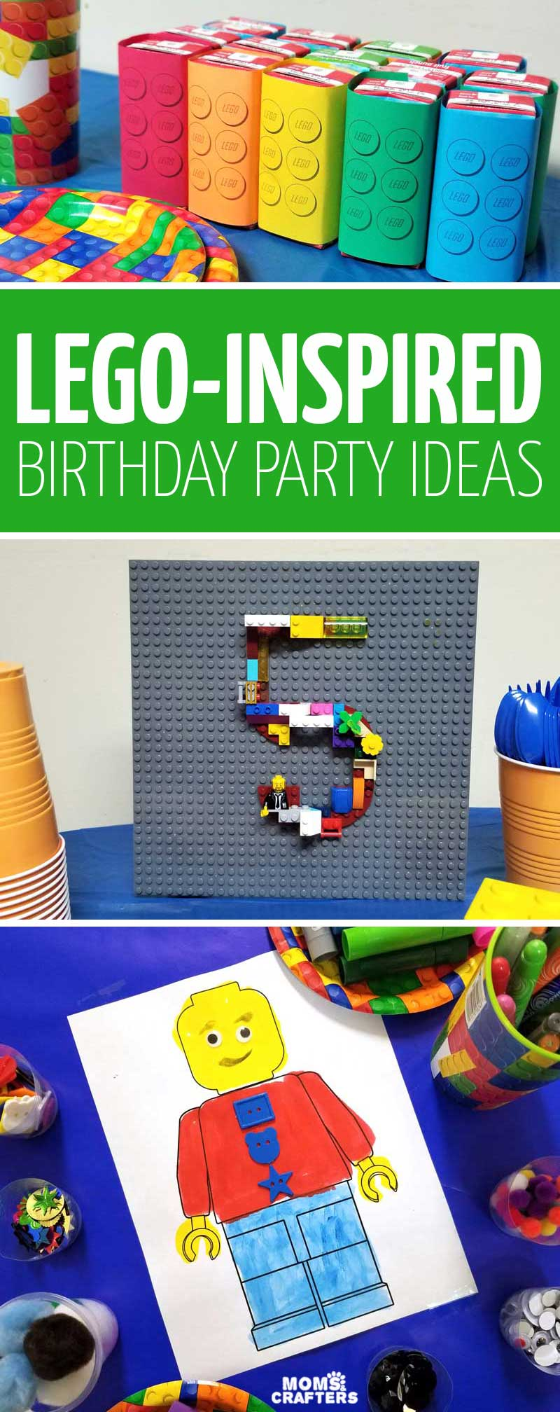 Click for the ultimate list of LEGO birthday party ideas - including brick themed party crafts, activities, foods, cakes, treat and favor boxes, and more!