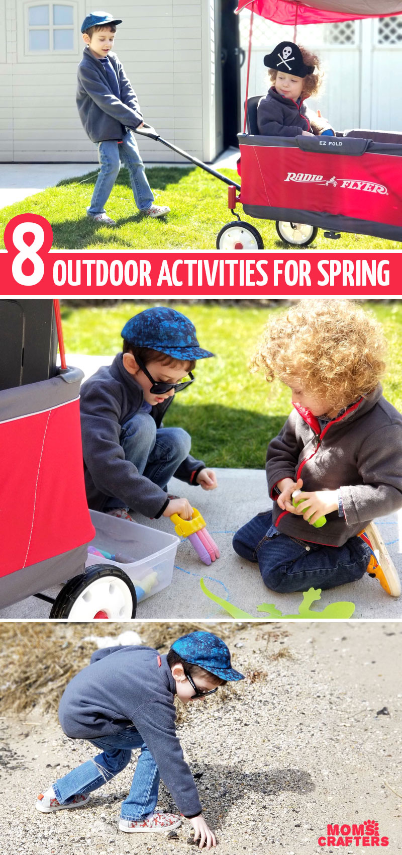 Looking for some cool outdoor activities for spring for toddlers and preschoolers? These fun learning and crafting ideas to do outside can be done in chilly weather too!