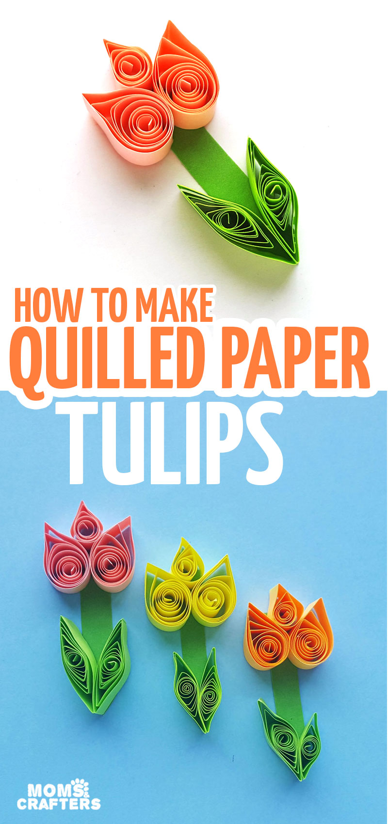 Click to learn how to make paper quilling tulips - a fun paper craft for Spring for kids, teens, and tweens. It's also a great quilled paper tutorial for beginners and a great Mother's Day card idea!