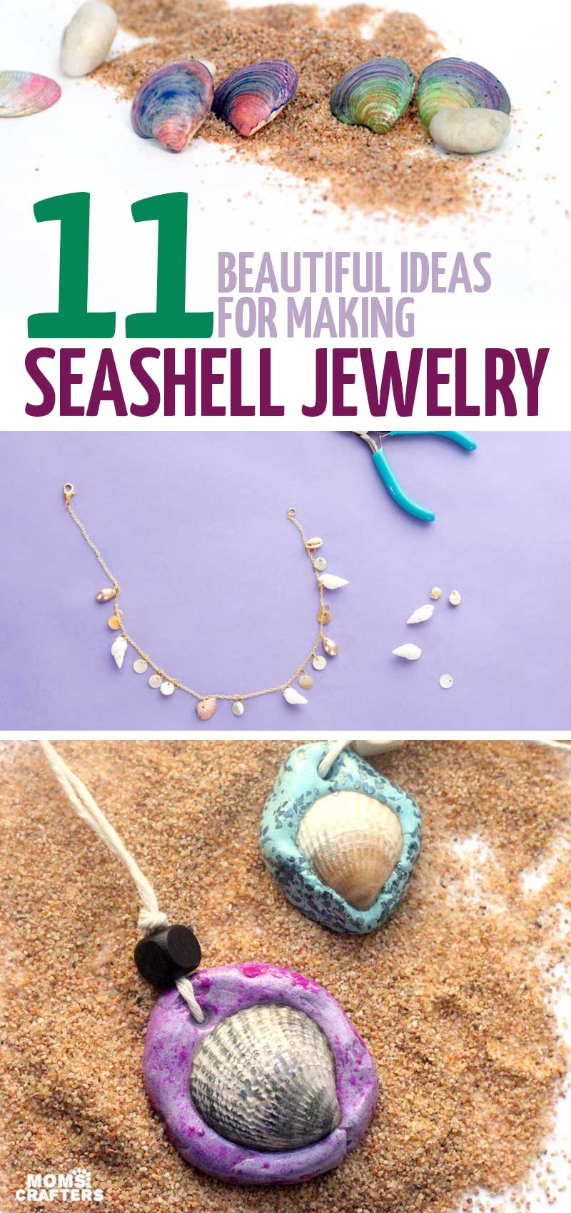 Click for the motherload of seashell jewelry DIY ideas! In this post you'll find DIY necklaces, earrings, and bracelets, all seashell crafts! These crafts are fun for summer and for teens.