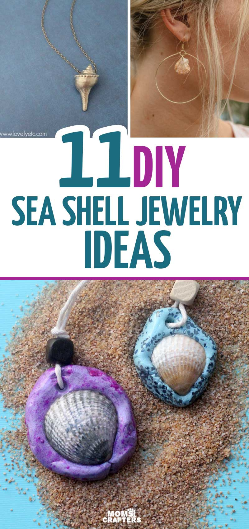 If you love seashell jewelry DIY ideas you'll love this list of seashell necklaces bracelets and earrings! These cool sea shell craft ideas are fun summer crafts for teens and tweens, and everyone else!
