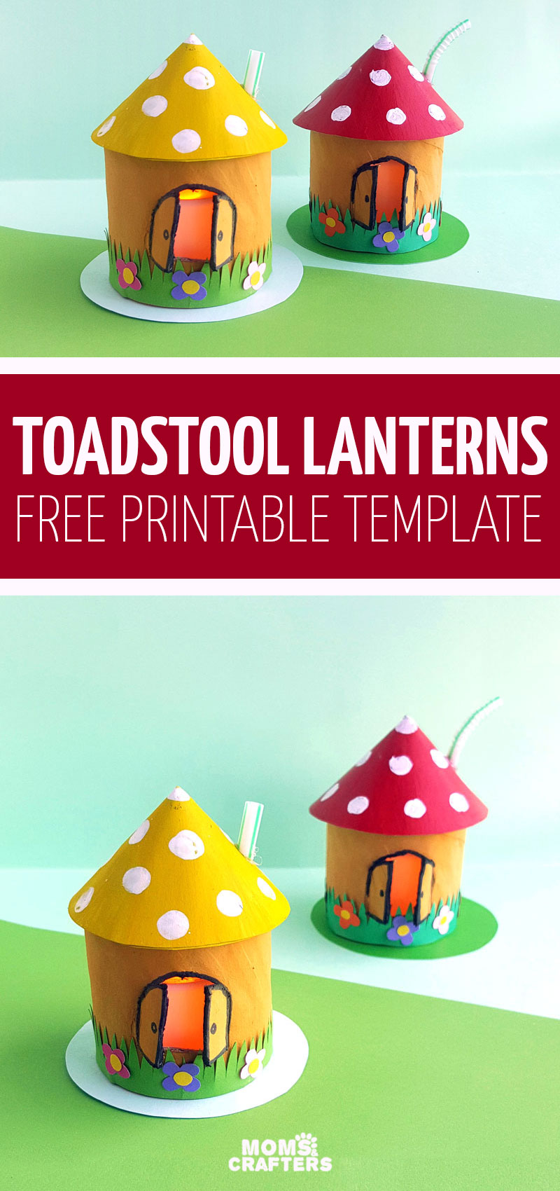 Click to learn how to make toadstool house lanterns from toilet paper rolls - a fun paper craft for kids made using cardboard tubes! This is so whimsical and a fun DIY fantasy toy or fairy themed activity