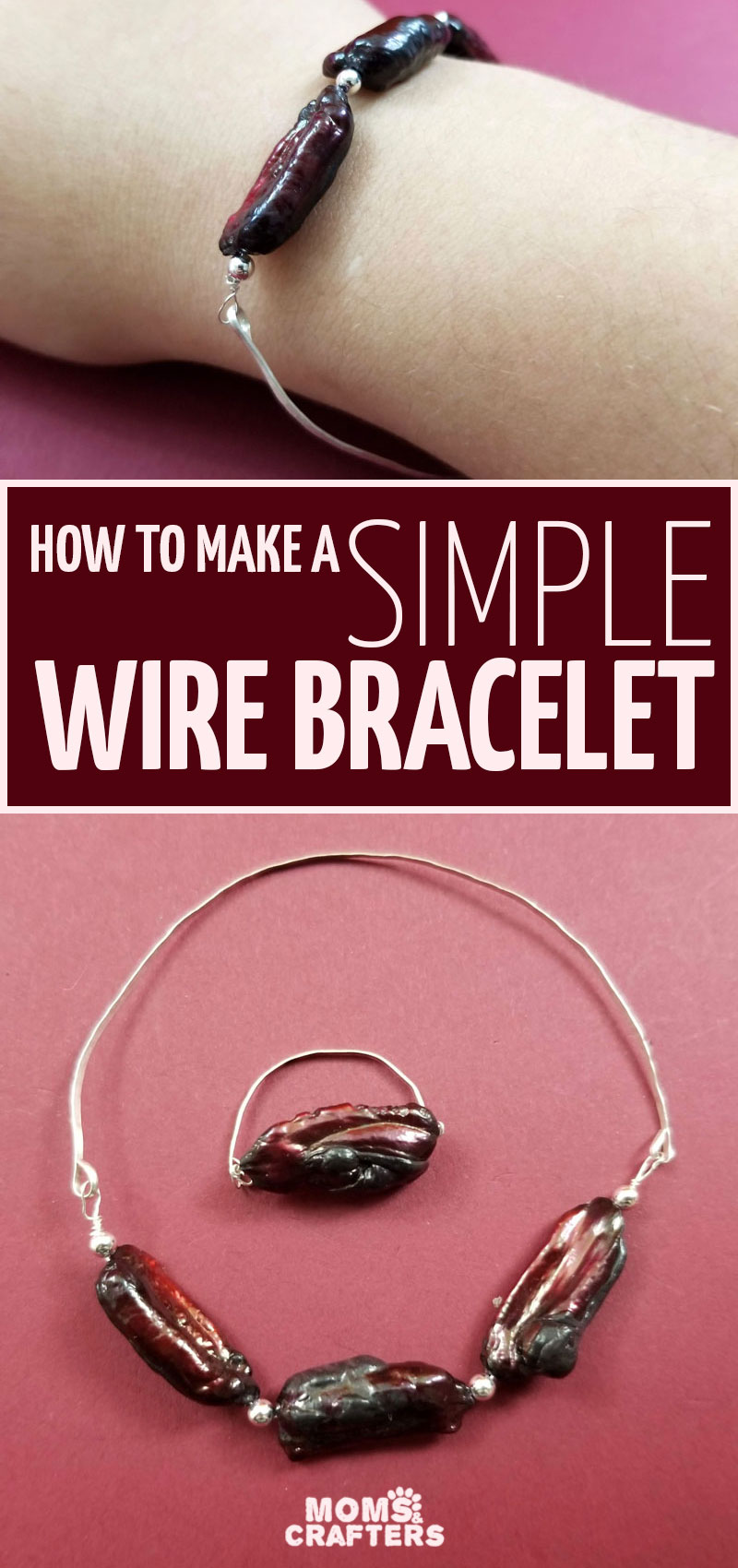 Click for a super simple and elegant wire bracelet DIY tutorial! This easy wire wrapped bangle bracelet is fun for stackign or wearing alone and is a cool jewelry making project for beginners.