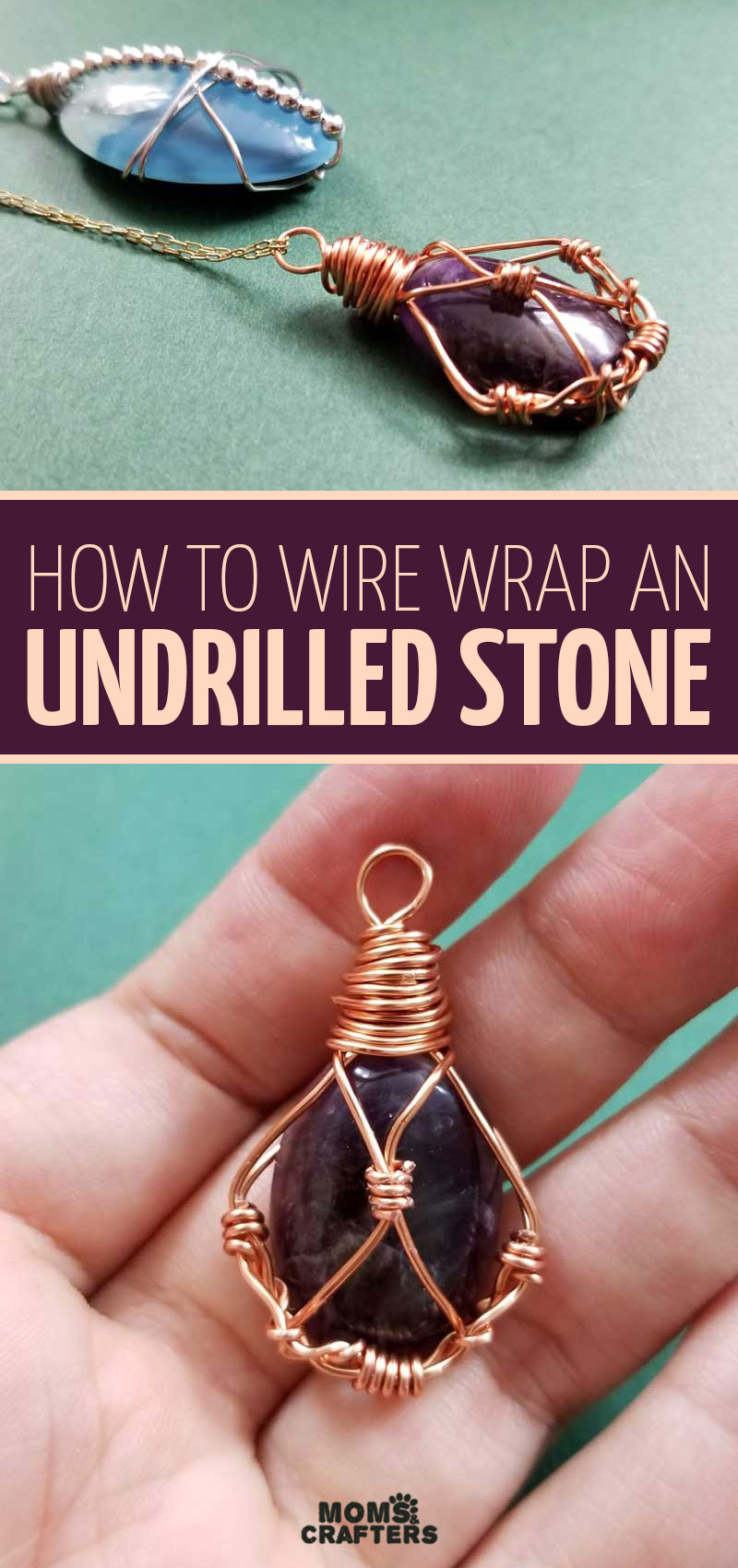 Click to learn how to wire wrap an undrilled stone with this DIY wire wrap stone pendant tutorial! It's a fun wire wrapping jewelry making tutorial for beginners and intermediates.