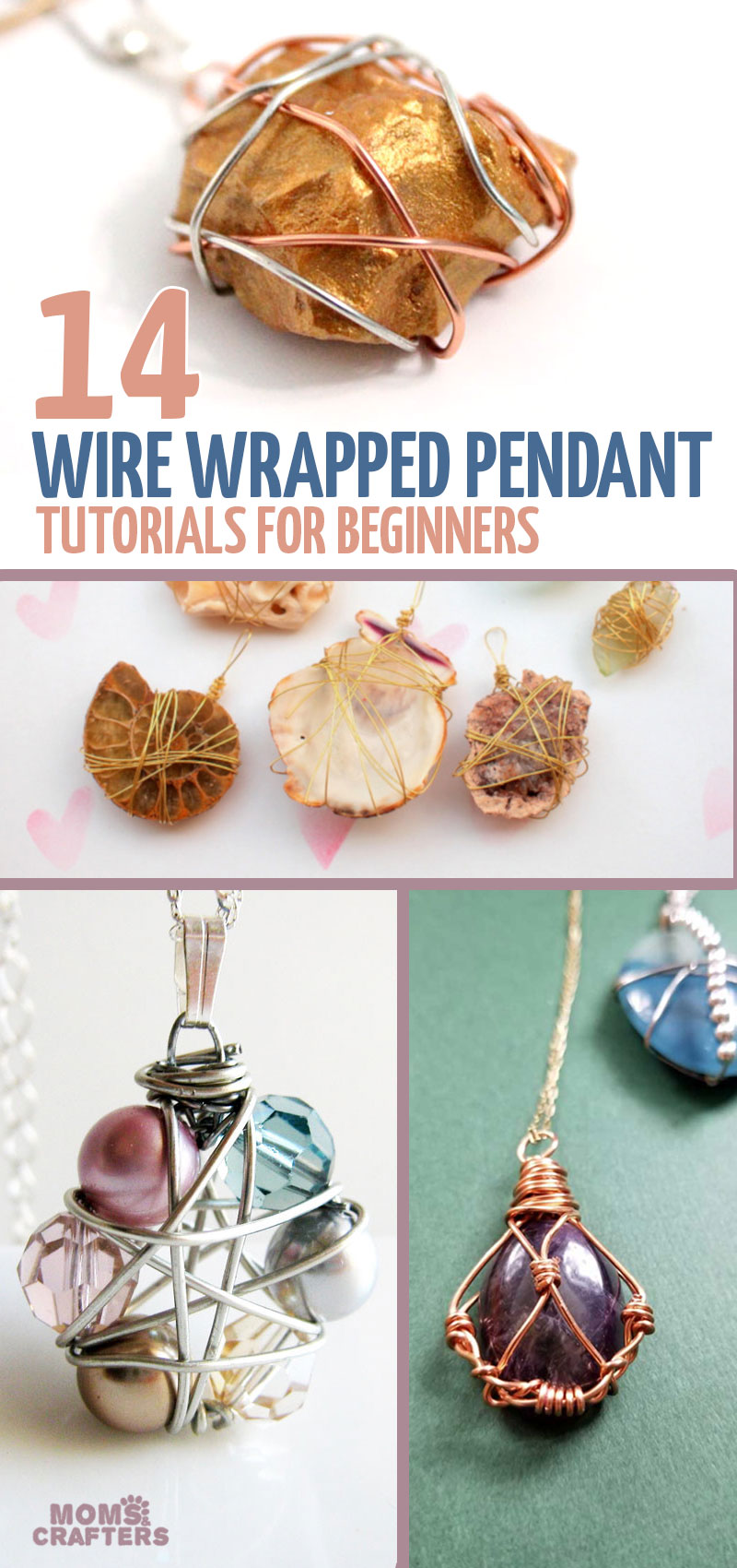 Click to learn how to wire wrap a pendant with 14 cool jewelry making projects for beginners!