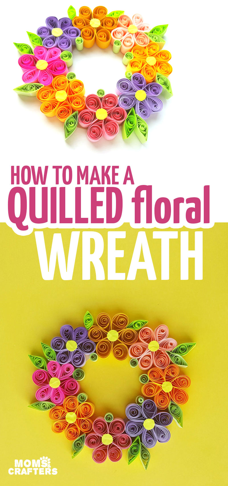 Click to learn how to make a paper quilling wreath - a paper quilling tutorial for beginners. This uses paper quilled flowers to make a stunning Spring wreath and spring or Easter decorations