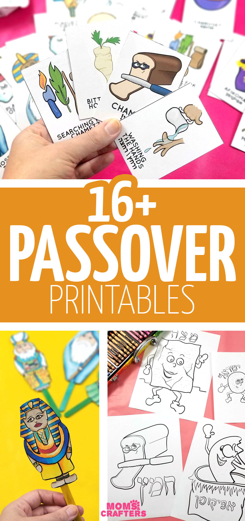 Click for over 16 cool Passover printables - including table decorations, kids activities crafts and coloring pages, Pesach makkot and ten plagues puppets, and more!