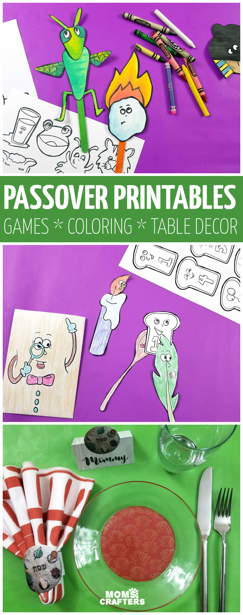 This huge list of passover printables for kids is so cool! Pesach coloring pages for kids and adults, table decorations and seder tablescape ideas and so many games and activities for kids.