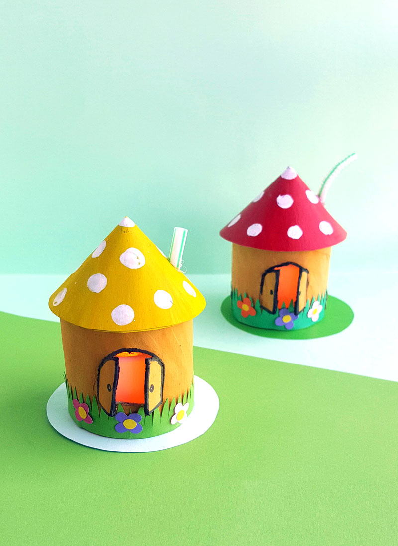 Toadstool House Lantern Easy Paper Craft For Kids Moms And Crafters