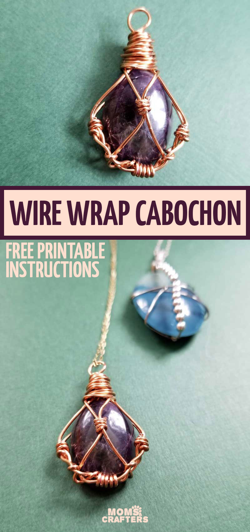 Free printable pattern and instructions to make a DIY wire wrap stone cabochon pendant. This stunning jewelry making craft is fun and easy to follow.