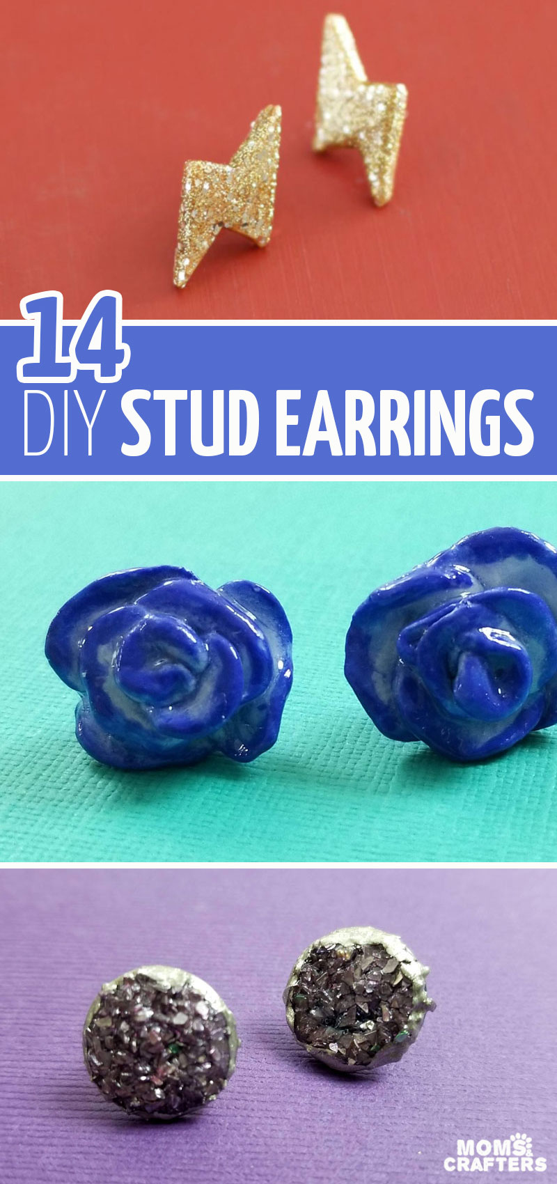 Click for 14 brilliant earring studs DIY ideas and jewelry making tutorials for beginners! These beautiful crafts for teens are simple and gorgeous - and totally unique statement earrings.