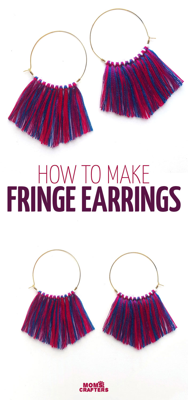 Click to learn how to make this hoop fringe earrings DIY TUTORIAL! This fun jewelry making project for beginners and teens is an easy and cheap idea for making earrings.