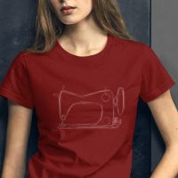 Sewing Shirt - Vintage Sewing Machine Sketch - Women's short sleeve t-shirt in red, green, blue,...