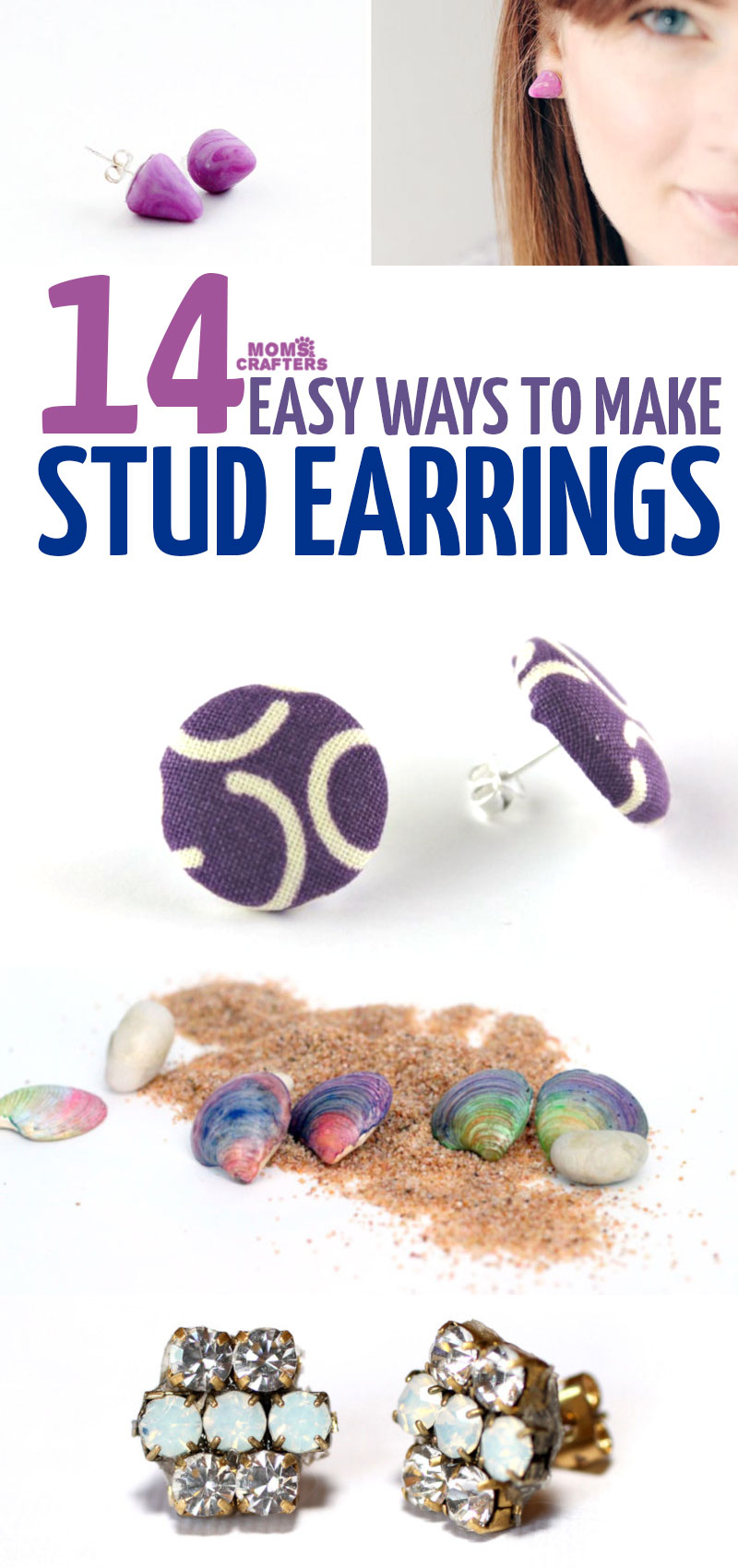 Click for some beautiful statement stud earrings DIY ideas for teens and tweens, and grown-ups too! This beautiful easy DIY jewelry is perfect for beginners.