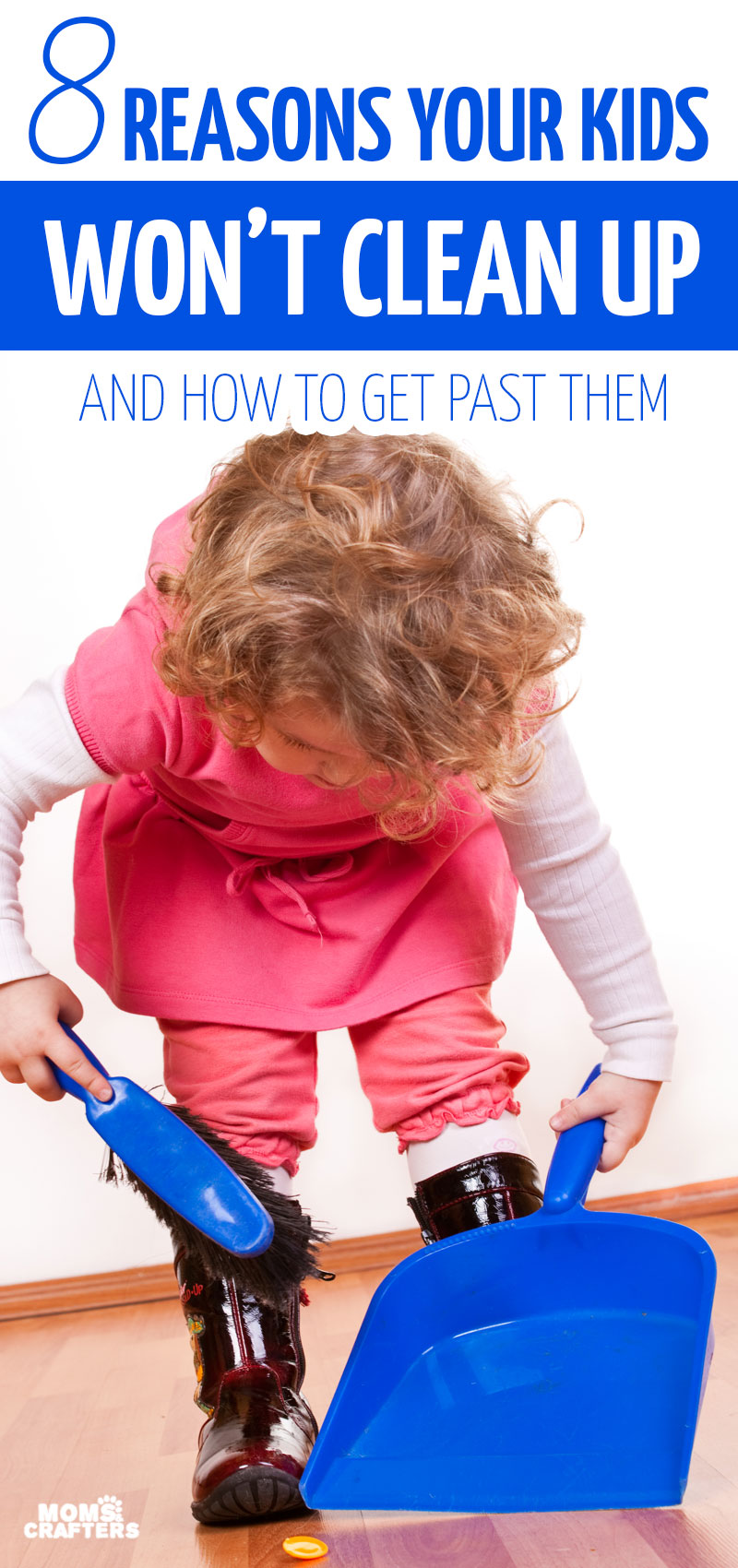 Click for 8 tips for getting kids to clean up and advice on how to get kids to do chores - especially two year olds, three year olds, four year olds, and five year olds. Includes reward chrat and incentive ideas too.